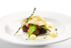 Hot Fish Dishes - Halibut Fillet Stock Photography