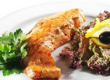 Hot Fish Dishes - Salmon Fillet Royalty Free Stock Images