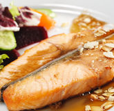 Hot Fish Dishes - Salmon Steak Stock Photography