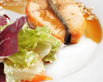 Hot Fish Dishes - Salmon Steak. With Narsharab Sauce and Fresh Salad Leaves Royalty Free Stock Images