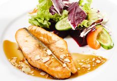 Hot Fish Dishes - Salmon Steak Royalty Free Stock Photos