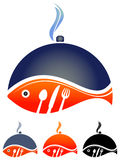 Hot Fish. Illustrated design of fish on plate on isolated white background Royalty Free Stock Photos