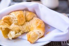 Hot flaky croissant Stock Photo