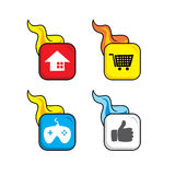 Hot flame icon button theme  art. Illustration Stock Photography