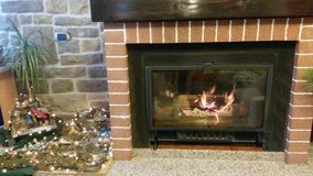 Hot flame. Winter Hot flame And red briks Stock Photography