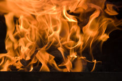 Hot Flames. From a burning charcoal fire Royalty Free Stock Image