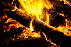 Hot Flames and Charcoal Royalty Free Stock Photos