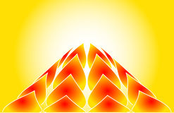 Hot Flames Rising. Stylized flames rising to a fiery peak against a hot yellow background Stock Images