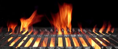 Hot Flaming BBQ Grill With Bright Flames And Glowing Coals Stock Image