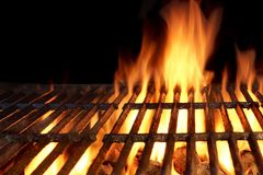 Hot Flaming Charcoal Grill Stock Images
