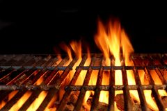Hot Flaming Charcoal Grill Stock Image