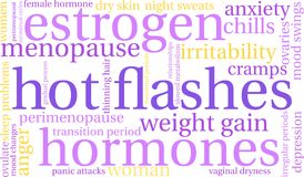 Hot Flashes Word Cloud. On a white background royalty free illustration