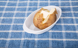Hot Fluffy Baked Potato with Butter Royalty Free Stock Photos
