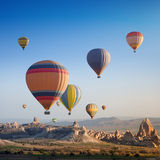 Hot flying balloon in Cappadocia royalty free stock images