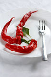 Hot food!. The Red sharp pepper on plate.Amateur sharp Stock Photography