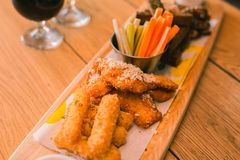 Close up of snacks that being in pub stock photo