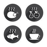 Hot food icons. Grill chicken and fish symbols. Hot coffee cup sign. Cook or fry apple and pear fruits. Circles buttons with long flat shadow. Vector Stock Photo