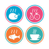 Hot food icons. Grill chicken and fish symbols. Hot coffee cup sign. Cook or fry apple and pear fruits. Colored circle buttons. Vector Stock Images
