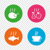 Hot food icons. Grill chicken and fish symbols. Hot coffee cup sign. Cook or fry apple and pear fruits. Round buttons on transparent background. Vector Royalty Free Stock Image