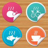Hot food icons. Grill chicken and fish symbols. Round stickers or website banners. Hot food icons. Grill chicken and fish symbols. Hot coffee cup sign. Cook or Stock Image