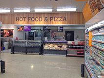 Hot food and Pizza counter. Royalty Free Stock Photo