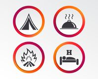 Hot food, sleep, camping tent and fire signs. Hot food, sleep, camping tent and fire icons. Hotel or bed and breakfast. Road signs. Infographic design buttons Royalty Free Stock Photography