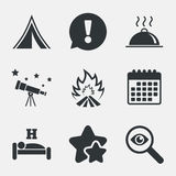 Hot food, sleep, camping tent and fire signs. Hot food, sleep, camping tent and fire icons. Hotel or bed and breakfast. Road signs. Attention, investigate and Royalty Free Stock Photo