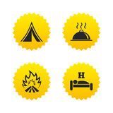 Hot food, sleep, camping tent and fire signs. Royalty Free Stock Image
