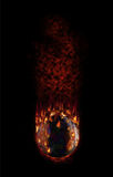 Hot football falling with fume and flames. Burning football falling fast as hell Stock Images