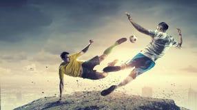 Hot football moments . Mixed media Royalty Free Stock Photography