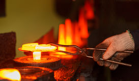 Hot forging production line Stock Image