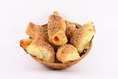Hot fresh baked pastry with sesame seeds Stock Image