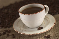 Hot Fresh Coffee with Coffee Beans Royalty Free Stock Photo