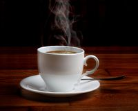 Hot Fresh Coffee In A White Cup Stock Photo