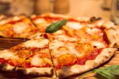 Hot fresh delicious pizza Margherita. DOF. Royalty Free Stock Image