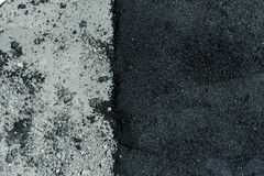 Hot fresh and old asphalt layers on road surface Royalty Free Stock Photo