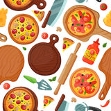 Hot fresh pizza banner seamless pattern icon food and drink element typographic design label or sticker pizzeria italian Stock Images