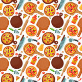 Hot fresh pizza banner seamless pattern icon food and drink element typographic design label or sticker pizzeria italian Royalty Free Stock Photos