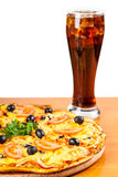 Hot fresh pizza and glass of Coca Cola Stock Image