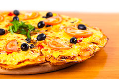 Hot fresh pizza with olives closeup Stock Photo