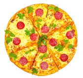 Hot fresh pizza with salami Royalty Free Stock Photography