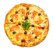Hot fresh a pizza with tomatoes Stock Photos