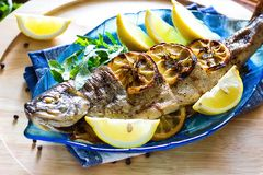 Hot fresh savory grilled whole trout barbeque with fresh herbs and lemon, served black pepper and arugula salad leaves on blue pla Stock Image