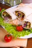 Hot fresh and tasty shawarma with vegetables Royalty Free Stock Images
