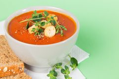 Hot and Fresh Tomato Soup with Bread Stock Photo