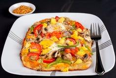 Hot fresh vegetarian flatbread pizza. Royalty Free Stock Photos