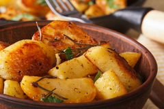 Hot fried potatoes in a bowl macro horizontal, rustic Royalty Free Stock Photo