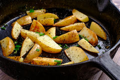 Hot fried potatoes. In a pan Stock Images