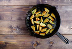 Hot fried potatoes. In a pan Royalty Free Stock Image