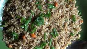 Hot fried rice with vegetables in Katmandu restaurant stock video footage